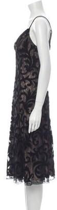 CARMEN MARCH Lace Pattern Midi Length Dress Black