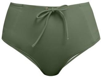 Bower - Kit Drawstring High-rise Bikini Briefs - Dark Green