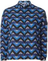 Petite Cobalt Triangle Geometric Print Shirt