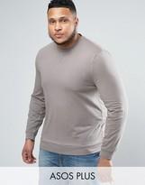 Asos PLUS Lightweight Muscle Sweatshirt In Stone