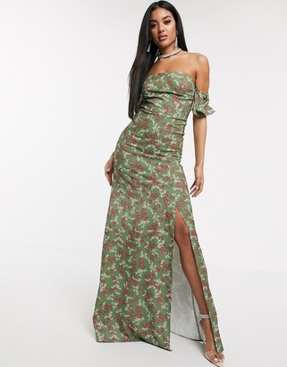 Koco & K off shoulder maxi dress with thigh split in floral print