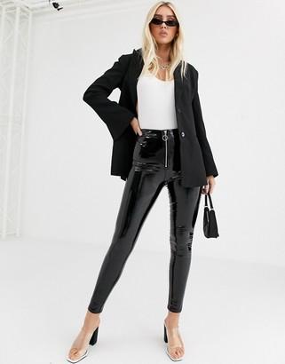 Parisian vinyl leggings with zip front