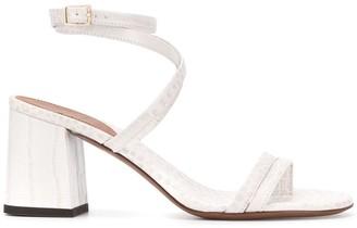 L'Autre Chose croc-effect wrap ankle 70mm sandals