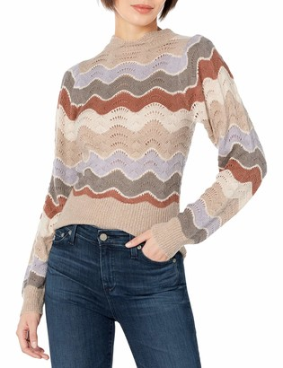 ASTR the Label Women's Emma Mock Neck Relaxed Fit Sweater