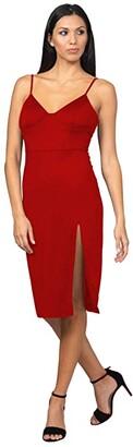 Bebe High Slit Knit Midi Dress (Berry) Women's Dress