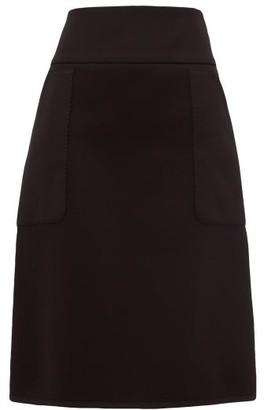Burberry Panelled Neoprene Midi Skirt - Womens - Black