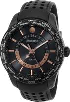 Movado Men's 2600118 Series 800 Black PVD Case Black Calfskin Leather Strap Dial Rose Gold Accents Watch