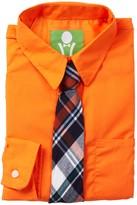 Future Trillionaire Solid Long Sleeve Shirt & Plaid Tie (Toddler, Little Boys, & Big Boys)