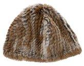 Adrienne Landau Knitted Fur Beanie
