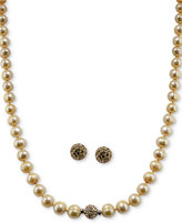 Honora Style Cultured Freshwater Pearl (7mm) and Crystal Jewelry Set in Sterling Silver