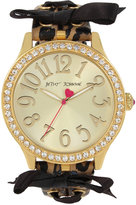 Betsey Johnson Women's Brown Leopard Printed Imitation Leather Strap Watch 42mm BJ00131-78