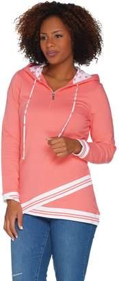 Denim & Co. Active Star Printed Half Zip Hooded Pullover