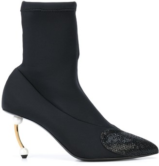 Coliac pearl-heel sock ankle boots