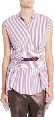 Brunello Cucinelli Cap-Sleeve Button-Down Striped Cotton Poplin Blouse with Wrap Belt