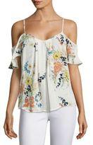 Joie Adorlee Floral-Printed Silk Cold Shoulder Blouse