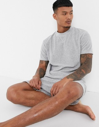 ASOS DESIGN lounge t-shirt and short pyjama set in grey marl towelling