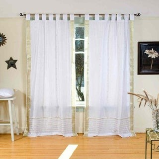 Indian Selections White with Gold Tab Top Sheer Sari Curtain / Drape / Panel - Piece