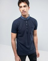 Brave Soul Polo Shirt with Denim Collar