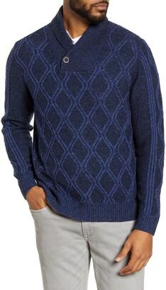 Tommy Bahama Argyle Stripe Shawl Collar Sweater