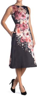 Maggy London Boat Neck Floral Tea Length Dress