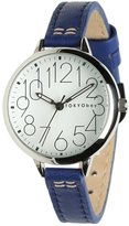 Tokyobay Tokyo Bay T361-BL Women's Sovra Stainless Steel Blue Leather Band Dial Watch