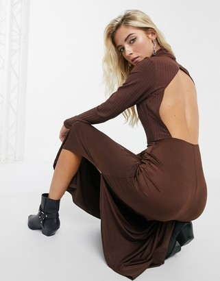 Asos DESIGN Long sleeve high neck rib midi dress with slinky hem in chocolate