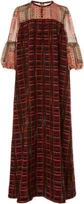 Anna Sui Mixed-Media Puffed-Sleeve Midi Dress Size: 10