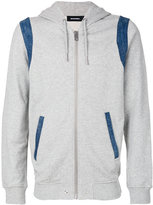 Diesel denim inset zipped hoodie - men - Cotton - S