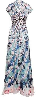 Temperley London Garden Cacti Printed Hammered Silk-blend Satin Gown