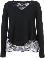 Derek Lam Long Sleeve V-Neck Pullover With Print Back