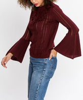 Flying Tomato Burgundy Open-Knit Bell-Sleeve Sweater