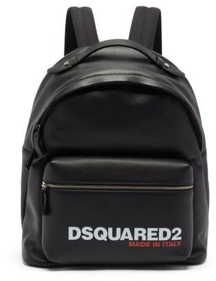 DSQUARED2 Logo-debossed Grained-leather Backpack - Black