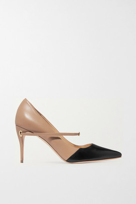 Jennifer Chamandi Lorenzo 85 Two-tone Leather Pumps - Beige