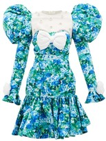 Richard Quinn Puff-shoulder Crystal-trim Floral-print Dress - Womens - Blue Print