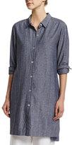 Go Silk Long-Sleeve Cross-Dye Linen Duster Jacket, Plus Size
