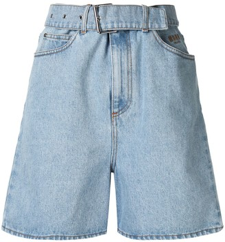 MSGM Embroidered Denim Shorts