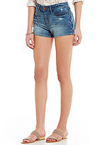 William Rast Destructed High Rise Braided-Side Stretch Denim Shorts