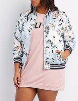 Charlotte Russe Plus Size Floral Striped Bomber Jacket