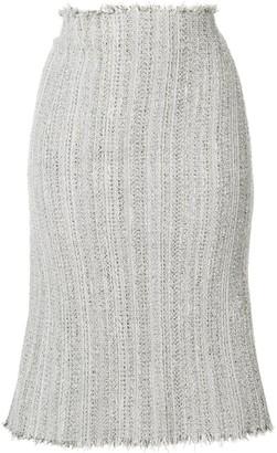 Thom Browne Ribbon Tweed Cardigan Pencil Skirt