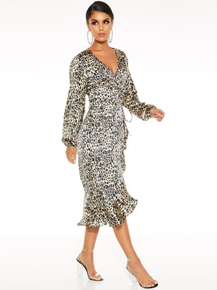 Quiz Satin Leopard Balloon Sleeve Frill Hem Midi Dress - Brown