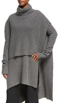 Rosetta Getty Ribbed Cashmere Turtleneck Poncho, Charcoal