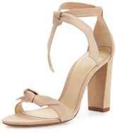 Alexandre Birman Clarita Suede Block-Heel Sandal, Neutral