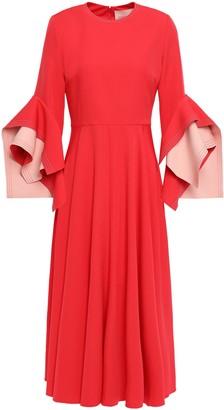 Roksanda Ruffled Gathered Two-tone Crepe Midi Dress