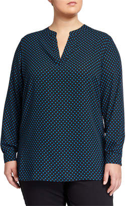 Anne Klein Plus Size Polka Dot Split-Neck Long-Sleeve Blouse