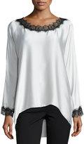 Go Silk Long-Sleeve Silk Tunic W/ Lace Trim, Petite