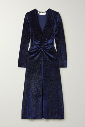 Rotate by Birger Christensen Ruched Glittered Velvet Midi Dress