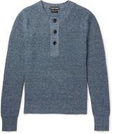 Tom Ford - Mélange Cashmere And Linen-blend Henley Sweater