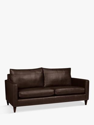 John Lewis & Partners Bailey Large 3 Seater Leather Sofa, Dark Leg