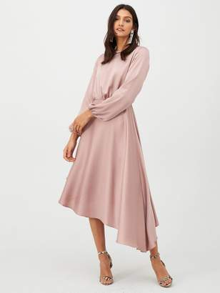 Very Blouson Sleeve Satin Midi Dress - Blush