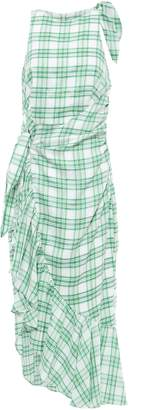 Paper London Montego Asymmetric Knotted Checked Gauze Dress